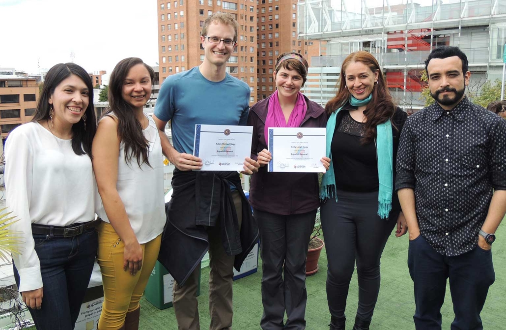 General Spanish Classes in Colombia. Group of Students with diploma