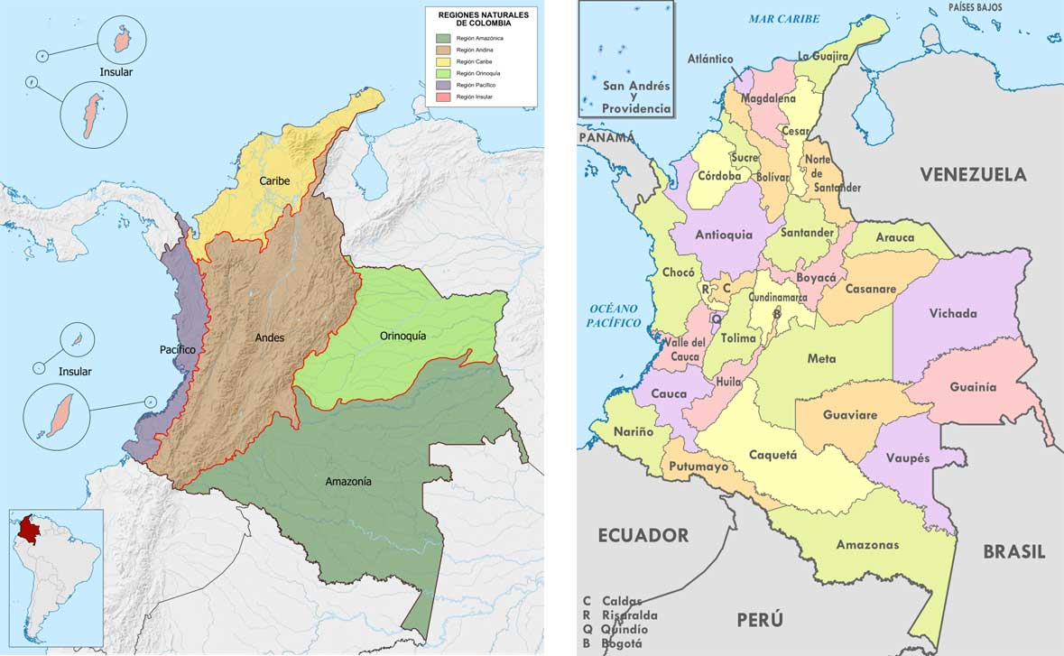 Colombia Natural Regions and Departmets Map