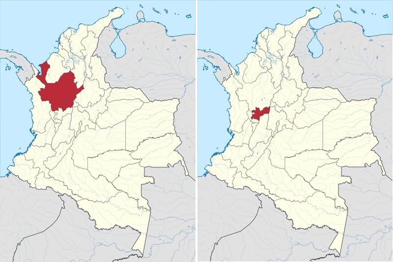Which dialects are spoken in Colombia? Map of Antioquia and Caldas Departments- Paisa