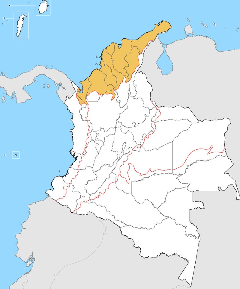 Which dialects are spoken in Colombia? Map of the Caribbean Region