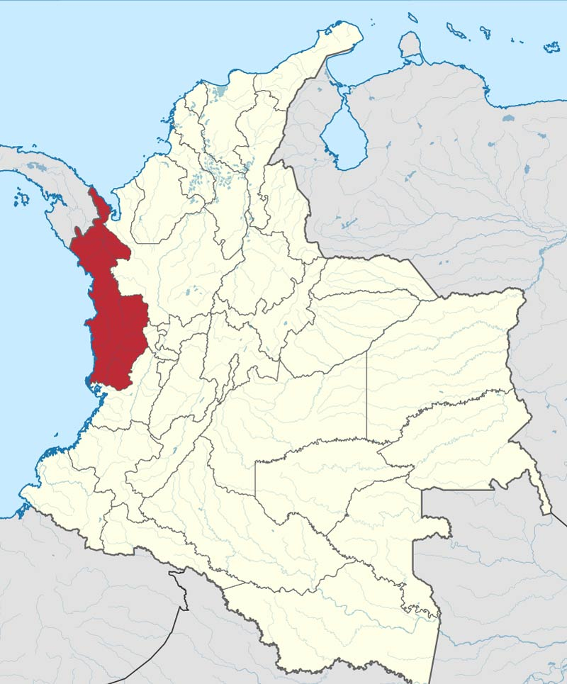 Which dialects are spoken in Colombia? Map of Choco Department- Chocoano