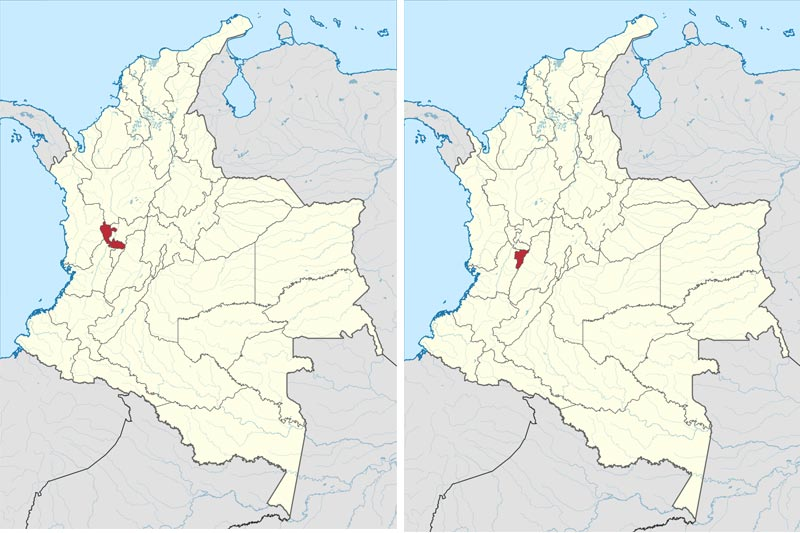 Which dialects are spoken in Colombia? Map of Risaralda and Quindio Departments- Paisa