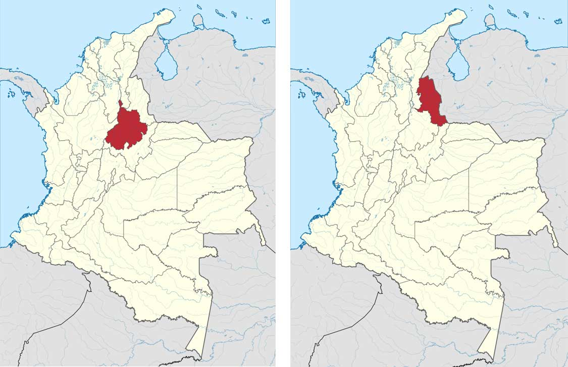 Which dialects are spoken in Colombia? Map of the Santander and Santander North
