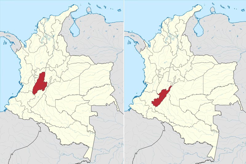 Which dialects are spoken in Colombia? Map of Tolima and Huila Departments- Opita Dialect