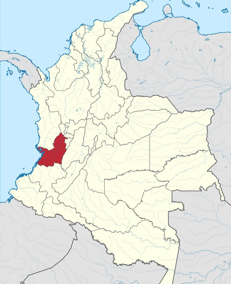 Which dialects are spoken in Colombia? Map of Valle del Cauca- Caleño