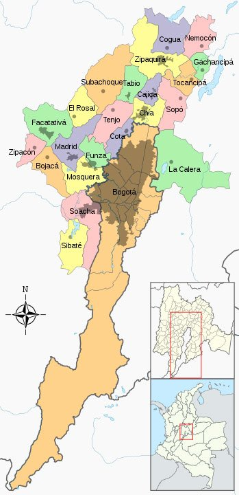 "Bogota's map. Bogota is divided into 20 districts or ""localidades"""
