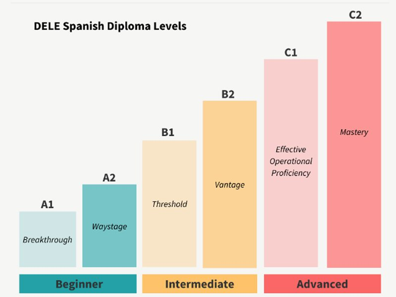 "DELE diplomas consist of six levels. With ""A"" being Beginners; ""B"" Intermediate, and ""C"" Advanced."