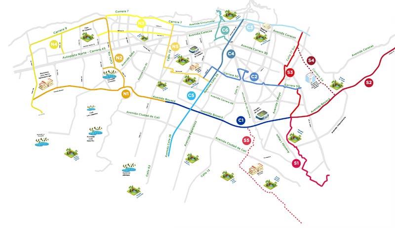 Bogota Ciclovía Map